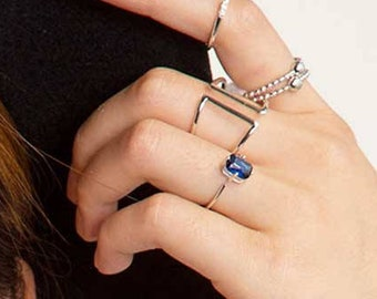 Blue Sapphire Ring, Dainty Simple Ring, Rectangle Ring, Heal Crystal Ring, Ring Women, Raw Ring, Sterling Silver Open  Ring, Dark Blue Ring