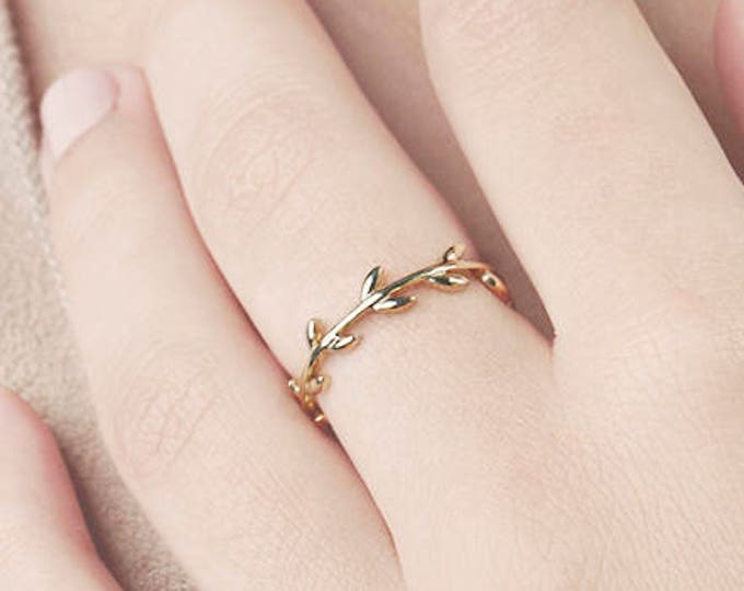 Gold Leaf Ring, Olive Branch, Vine Ring, Flower Ring, Minimalist Gold Ring, Delicate Ring, Simple Ring Set, Gold Ring For Women, Tree Branch