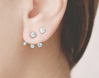 Triple Piercing, Ear Crawler, Front Back Earring, Double Piercing Earring Set,Double Side Earring,Dainty Ear Jacket,Sterling Silver Ear Cuff