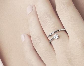 Sideways Arrow Ring, Double Wrap Ring, Sterling Silver Arrow Ring,Arrow Jewelry, Best Friend Ring 2,Teen Jewelry,Ring Girlfriend,Adjust Ring