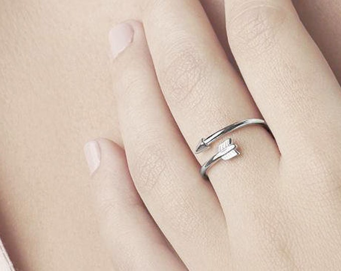 Sideways Arrow Ring, Double Wrap Ring, Sterling Silver Arrow Ring,Arrow Jewelry, Best Friend Ring 2,Teen Jewelry,Ring Girlfriend,Adjust Ring