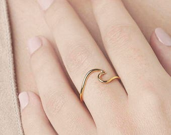 Wave Ring, Dainty Ring,Wave Ring Gold,Silver Wave Ring,Simple Ring,Delicate Ring,Ocean Jewelry,Gold Fill Wave Ring,Wave Ring Sterling Silver