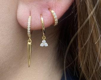 Gold Hoop Earring Charm clover, Dangle Earring, Huggie Earring, Dainty Gold Hoop, Cz Hoop, Diamond Hoop Earring,Delicate Hoop Earring