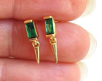 Emerald Earring Stud, Gold Charm Earring, Baguette Earring, Small Dangle Earring, Earring Second Hole, Spike Earring,Sterling Silver Earring