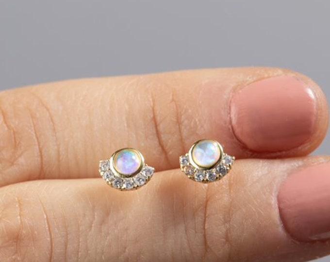 Fan Shaped Earring, Opal Cz Stud Earring, Small Earring Gold, Earring Second Hole, Sterling Silver Dainty Earring,Single Earring,Flower Stud