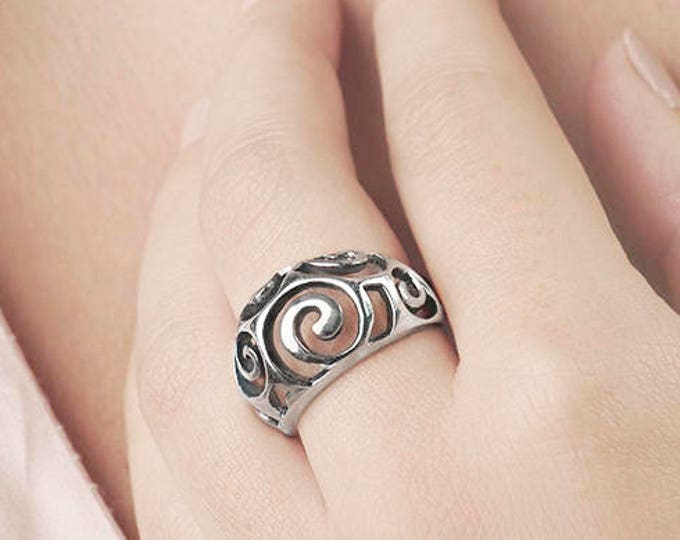 Bombe Ring, Large Ring, Oxidized Sterling Silver Ring, Rustic Sterling Silver Ring, Art Deco Ring, Spiral Ring, Dome Ring, Modern Ring