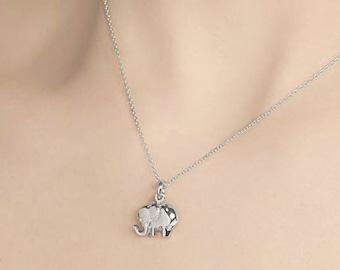 Tiny Sterling Silver Elephant Necklace - Elephant Charm Necklace - Small Elephant Pendant - Silver Animal Jewelry - Lucky Charm Necklace