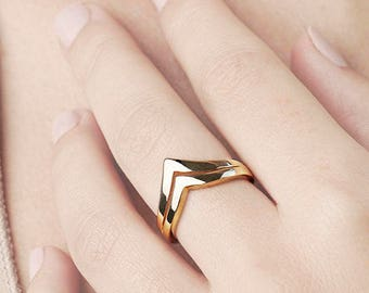 Statement Gold Ring, V ring,  Double Ring, Gold Plated Rings for Women, 2 Ring Set, Chevron Ring,Geometric Ring, Wide Band Ring,Size 10 Ring