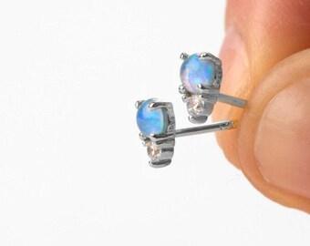 Blue Opal Earrings, Minimalist Earrings, Natural Stone Earring, Gold Stud Earring, Second Hole Earring, Single Earring, Delicate Earring