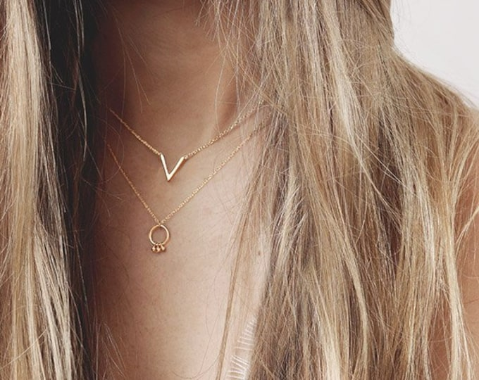 V shaped Necklace, V Necklace, Gold V Necklace, Gold Chevron Necklace, Pointed Necklace, Dainty Necklace Woman,Small Necklace,Layer Necklace