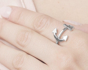 Women Anchor Ring, Sideways Anchor Ring, Marine Girlfriend Jewelry, Sea Inspired Jewelry, Cross Anchor Ring,  Sterling Silver Thick Ring