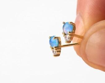 Blue Opal Earrings, Minimalist Earrings, Natural Stone Earring, Gold Stud Earring, Mini Earring, Single Earring, Dainty Simple Earring
