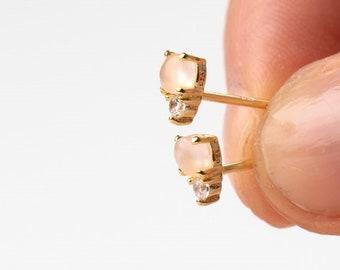 Rose Quarz Earrings, Minimalist Earrings, Stud Earring, Tiny Earring, Second Hole Earring, Pink Earring, Dainty Earring, Mineral Earring