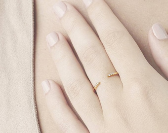 Dainty Ring, Ring Women, Minimalist Ring, Open Ring, Simple Ring,Minimalist Jewelry,Sterling Silver Ring,Midi Ring,Delicate Ring,Adjust Ring