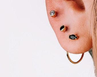 Open Huggie Earring, Small Hoop Earring, Onyx earring, Black Earring, Minimalist Earring, Single Earring, Stone Hoop Earring, Modern Earring