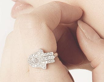 Hamsa Hand Ring, Hand Of Fatima Ring, Hamsa Ring Sterling Silver, Hamsa Diamond, God Hand Ring, Sideways Hamsa Ring, Micro Pave, Cz Ring