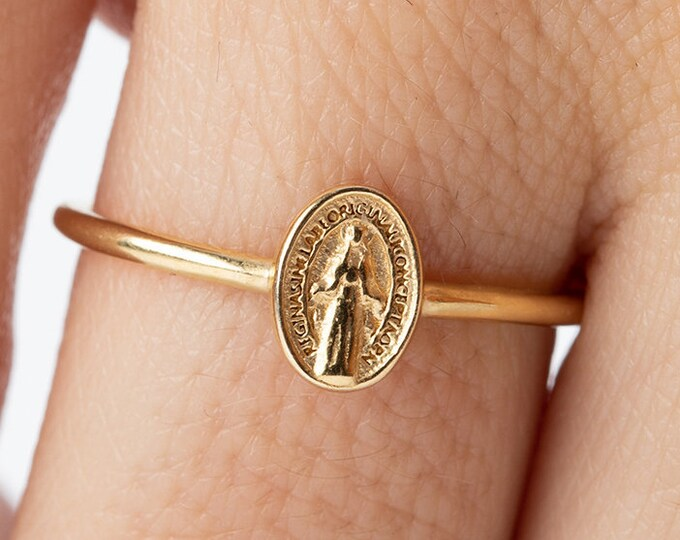 Sterling Silver Miraculous Medal Ring ,Virgin Mary Ring, Blessed Mother Ring, Catholic Ring, Small Ring Gold, Small Ring, Religious Ring