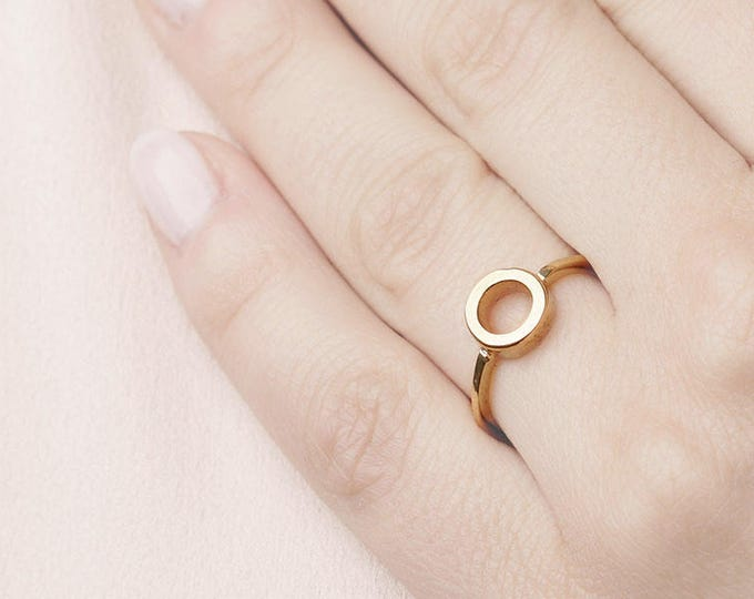Circle Silver Gold - Round Shape Ring - Loop Ring - Dainty Gold Plated Ring - Geometric Ring - Eternity Ring - Band Golden Ring