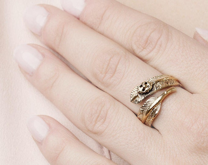 Angel Wing Ring Band, Feather Gold Ring, Bypass Ring,   Boho Big Ring, Hippie Flower Ring, Gold Plated Vintage Ring, Thick Ring, Wide Ring