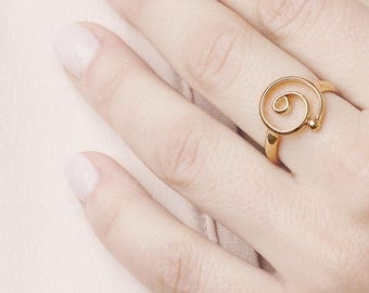 Spiral Gold Ring, Spiral Greek Ring, Celtic Ring, Ethnic Ring, Circle Ring, Gypsy Ring,Gold Plated Round Ring,Sterling Silver Eternity Ring
