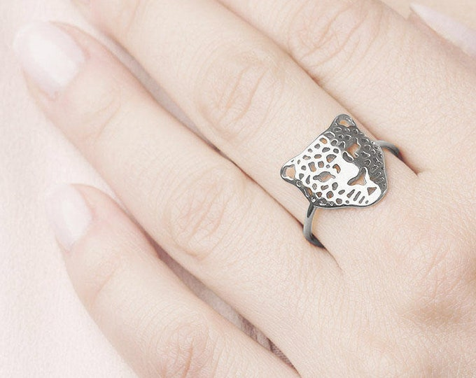 Leopard Ring, Statement Silver Ring, Filigree Silver Ring, Pattern Ring, Lace Ring,Animal Jewelry,  Lion Ring Women, Tiger Ring,Panther Ring