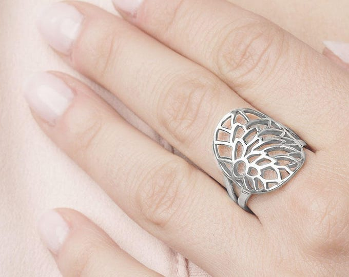 Large Tree Ring, Filigree Silver Ring, Leaves Ring, Branch Ring, Thick Ring, Bohemian Ring, Hippie Ring, Vine Ring, Thick Ring Women, Flower