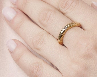 Wide Band Ring - Gold Hammered Ring - Gold Textured Ring - Dainty Stone Ring - Thick Band Ring -Sterling Silver Dome Ring -Mineral Gold Ring