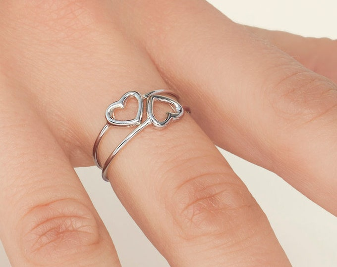 Best Friend Ring 2, Heart Ring Sterling Silver, Friendship Ring 2, Matching Ring Friend, Tiny Heart Ring, Boyfriend Girlfriend Jewelry Set