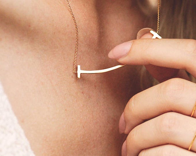 Gold Curved Bar Necklace - Gold Open Ring - T Ring Necklace Collection - Tube Necklace Ring Set - Long Bar Pendant - Dainty Matching Jewelry