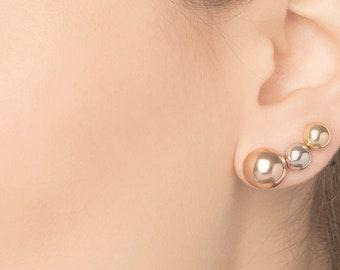 Dome Earring, Men Stud Earring, Semicircle Earring, Sphere Earring, Single Earring, Sterling Silver Stud Earrings Set, Tiny Stud Earring