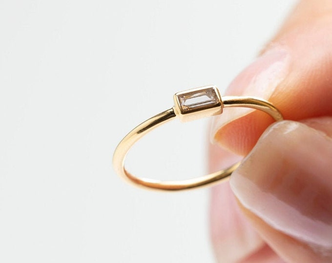 Minimalist Ring, Thin Ring Women, Baguette Ring, Zircon Ring, Dainty Ring, Rectangle Ring, Crystal Ring, Stack Ring, Delicate Ring, Simple