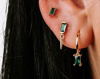 Charm Hoop Earring, Emerald Earring, Baguette Earring, Huggie Earring, Cz Hoop, Zircon Hoop Earring, Minimalist Earring, Earring Second Hole