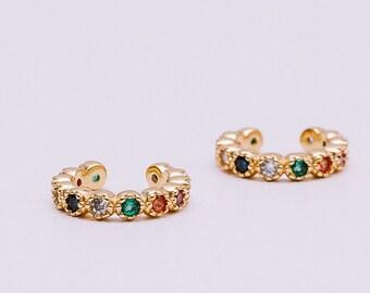 Conch Earring, Multi Color Earring, Stone Earring, Minerals Earring,  Sterling Silver Ear Cuff, Earring No Piercing, Zircon Erring, Cz Cuff