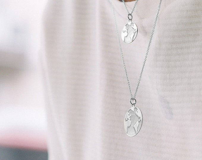 Alphabet Necklace Silver, Graduation Necklace 2018, Globe Necklace, World Map Necklace, Earth Necklace, Wanderlust, Bestfriend Necklace  2