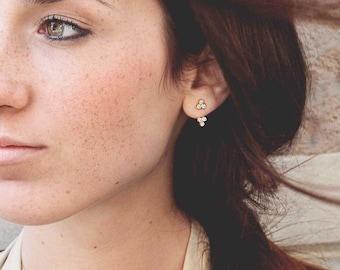 Clover Earring, Front Back Earring Gold, Double Sided Earring, Diamond Earring Jacket, Moon Phase Ear Jacket, Dainty Ear Jacket, Triple Stud