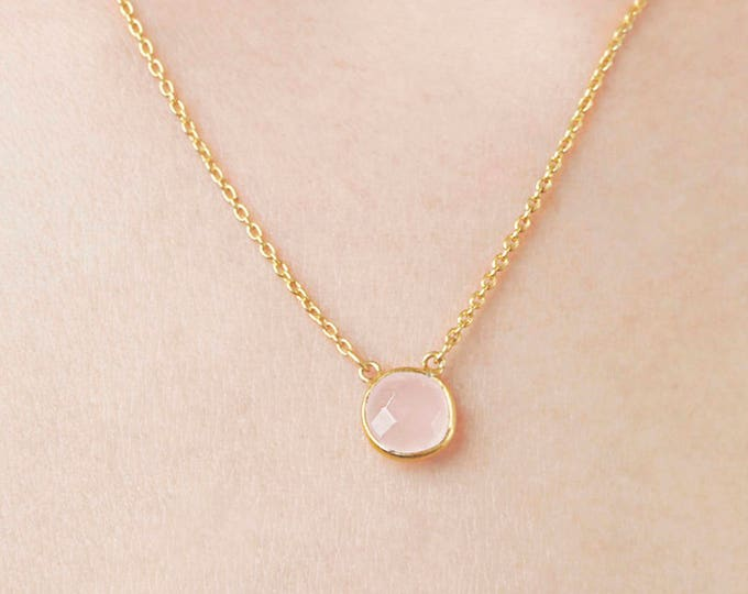 Rose Quartz Gold Necklace,  Pink Stone Necklace, Dainty Gemstone Necklace, Round Necklace, Dainty Mineral Necklace, Minimalist Collar