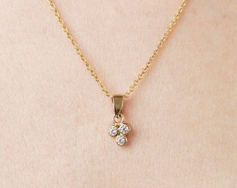 Cubic Zirconia Necklace Gold, Diamond Necklace Women, Dainty Flower Necklace,Full Moon Necklace Sterling Silver, Cluster Necklace, Threesome