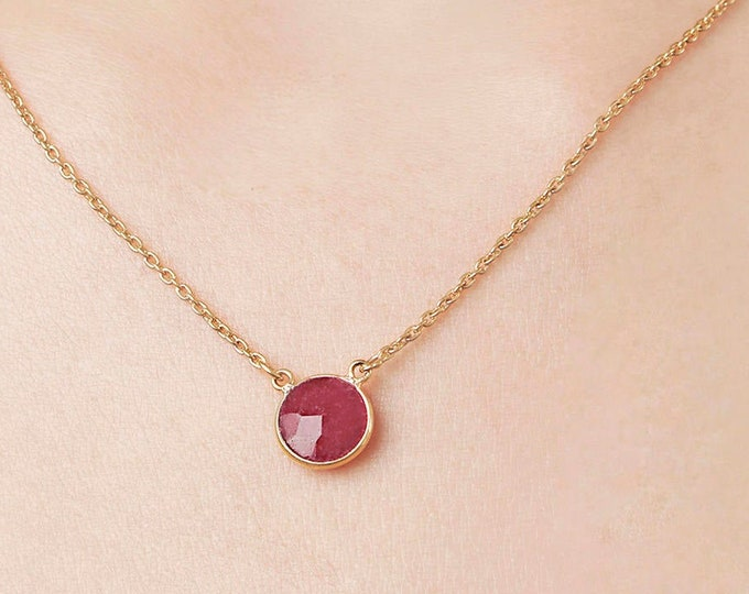 Ruby Necklace, Garnet Necklace, Red Necklace, Round Stone Necklace, Small Gemstone Necklace,  Birthstone Pendant, April Birthstone, Gift her