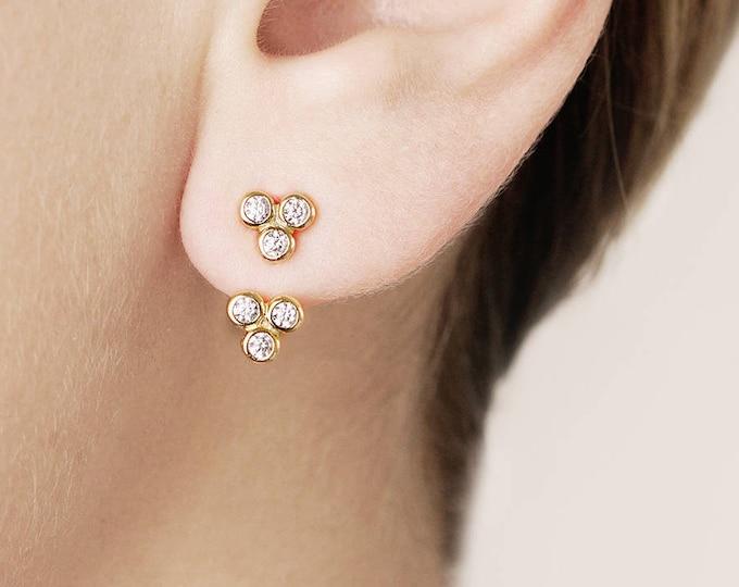 Front Back Earring, Triple Stud Earring, Moon Phase Ear Jacket Sterling, Ear Climber, Dainty Flower Stud Earring, Cartilage Earring Gold