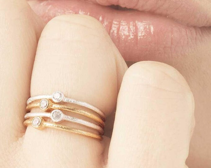 Sterling Silver Solitaire Ring, Single Diamond Ring, Dainty Cz Ring, Minimalist Gold Ring, Stack Ring Set, Thin Solitaire Engagement Ring