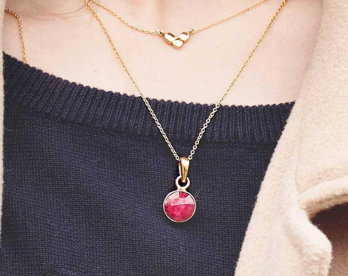 Red Stone Necklace, Ruby Necklace Gold, Gemstone Jewelry Set, Garnet Pendant Gold, Jewelry Stone Crystal, Mineral Necklace, Necklace Women