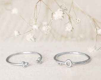 Upper Finger Ring, Silver Cuff Ring, Dot Cuff Ring, Minimalist Ring, Threesome Jewelry, Open Cuff Ring, Finger Cuff Ring, Open Circle Ring