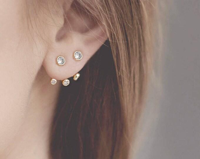 Diamond Jacket Earring, Ear Crawler, Front Back Earring Sterling Silver, Dainty Ear Jacket, Cubic Zirconia Jewelry, Triangle Ear Climber