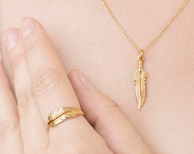 Gold Feather Ring Necklace - Feather Jewelry Set - Boho Feather Necklace - Freedom Charm Necklace - Matching Set of Ring Necklace