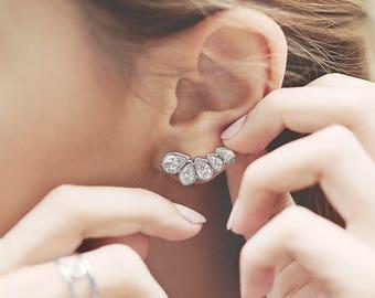 Ear Climber Earrings, Ear Crawler Earrings, Tear Drop Earrings, Zircon Earrings, Earlobe Earring, Dainty Earring, Minimalist Ear Climber