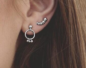 Charm Hoop Earring, Second Hole Earring Sterling Silver,Front Hoop Earring,Tiny Charm Earring, Dangle Hoop Earring Post,Small Dainty Earring