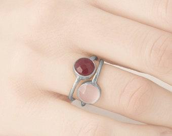 Birthstone, Garnet Ring, Red Stone ring, Ruby Ring, Gemstone Ring, Gem Stack ring, Rose Quartz Ring, Mineral Ring, Silver Gemstone Ring