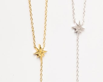 Y Necklace Sterling Silver, Starburst Necklace Gold, North Star Necklace,Y Drop Necklace,Y Lariat Necklace, Long Layer Necklace, Minimalist