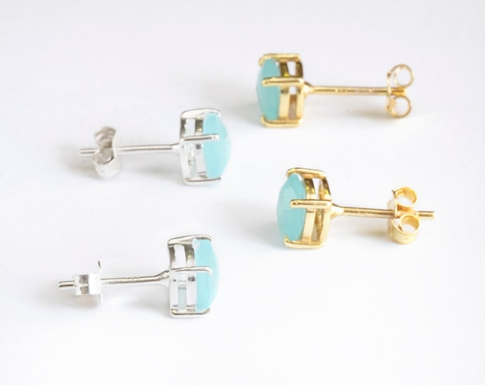 Aquamarine Earring Gold, Aqua Chalcedony Stud, Small Stone Earring Sterling Silver, Gem Earring Stud, Gold Fill Stud, Blue Earring, Dainty