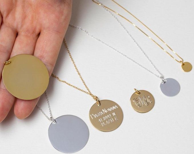 Large Disc Monogram Pendant Necklace, Graduation Necklace 2019, Large Medallion, Engraved Layer Necklace, Round Disc Necklace, Name Jewelry